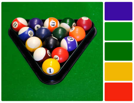 Billiard balls in a green pool table. Colour palette with complimentary colour swatches