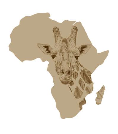 Mapa de África con imágenes de jirafa dibujada