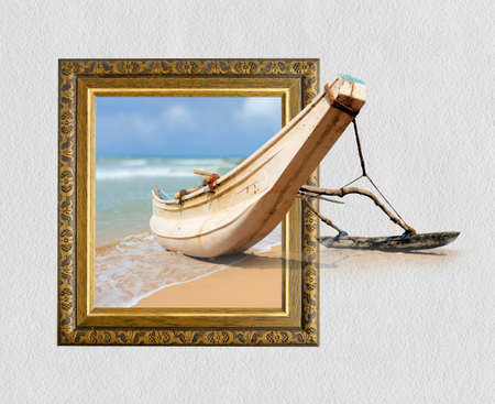 3d boat: Fishing boat in old wooden frame with 3d effect Stock Photo