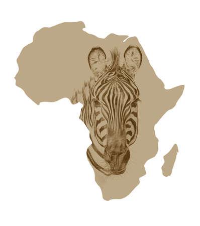 Mapa de África con imágenes de cebra dibujada