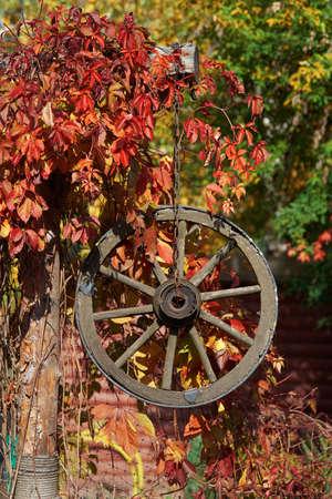 Autumn decor with wooden wagon wheel