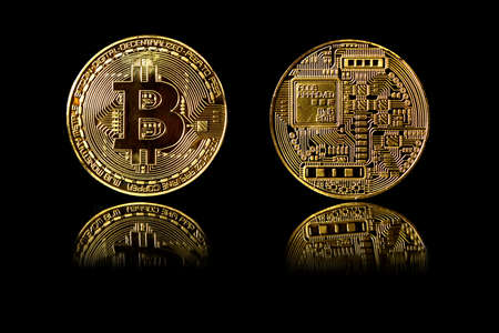 Bitcoin gold coin isolated on black background