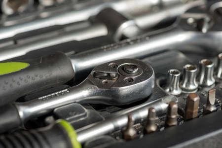 Set of tools for car repair in box, closeup