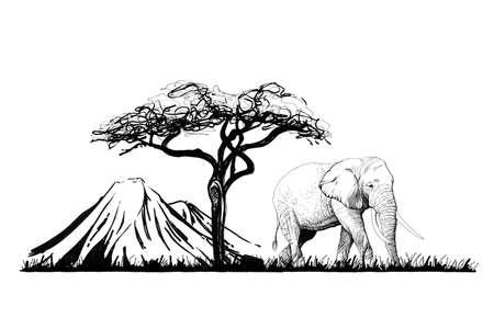 Elephant near a tree on mount background. Hand drawn illustration. Collection of hand drawn illustrations (originals, no tracing)