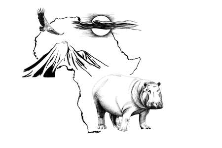 Hippo on Africa map background with Kilimanjaro mountain, vulture and sun. Collection of hand drawn illustrations (originals, no tracing)
