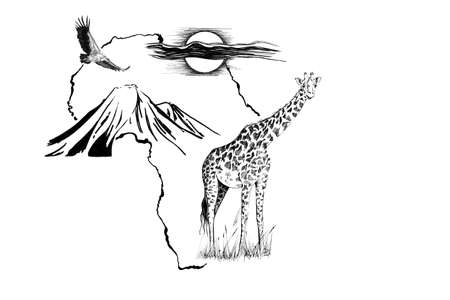Giraffe on Africa map background with Kilimanjaro mountain, vulture and sun. Collection of hand drawn illustrations (originals, no tracing)