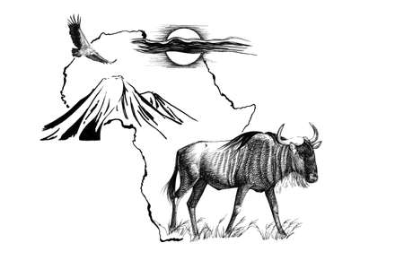 Wildebeest on Africa map background with Kilimanjaro mountain, vulture and sun. Collection of hand drawn illustrations (originals, no tracing)