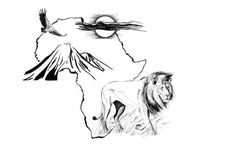 Lion on Africa map background with Kilimanjaro mountain, vulture and sun. Collection of hand drawn illustrations (originals, no tracing)