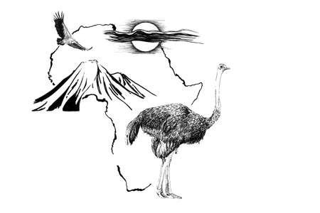 Ostrich on Africa map background with Kilimanjaro mountain, vulture and sun. Collection of hand drawn illustrations (originals, no tracing)
