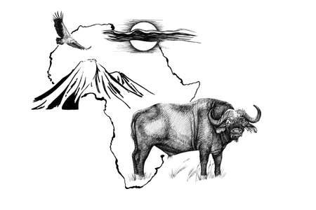 Buffalo on Africa map background with Kilimanjaro mountain, vulture and sun. Collection of hand drawn illustrations (originals, no tracing) Stok Fotoğraf