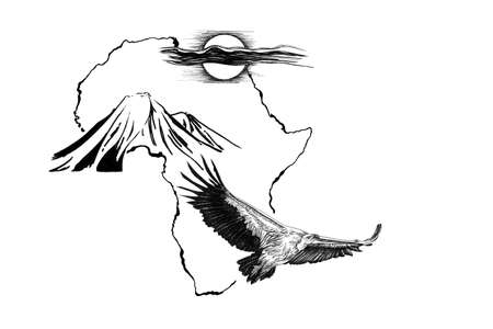 Vulture on Africa map background with Kilimanjaro mountain and sun. Collection of hand drawn illustrations (originals, no tracing) Stok Fotoğraf