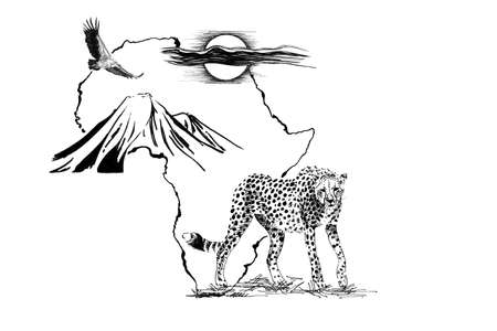 Cheetah on Africa map background with Kilimanjaro mountain, vulture and sun. Collection of hand drawn illustrations (originals, no tracing) Stok Fotoğraf