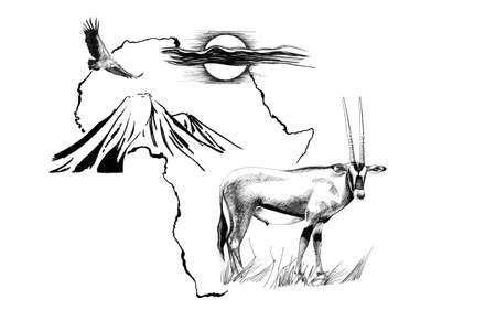 Gemsbok antelope (Oryx gazella) on Africa map background with Kilimanjaro mountain, vulture and sun. Collection of hand drawn illustrations (originals, no tracing)