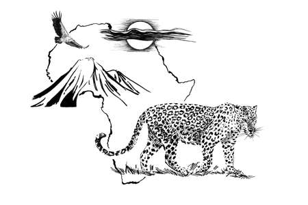 Leopard on Africa map background with Kilimanjaro mountain, vulture and sun. Collection of hand drawn illustrations (originals, no tracing) Stok Fotoğraf