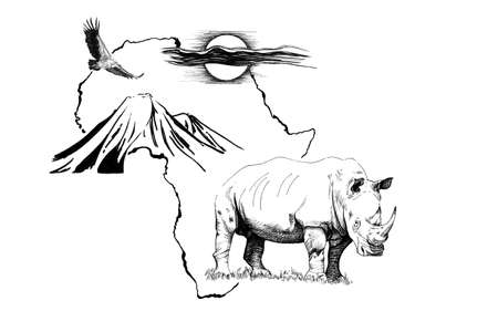 Rhino on Africa map background with Kilimanjaro mountain, vulture and sun. Collection of hand drawn illustrations (originals, no tracing)