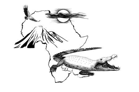 Crocodile on Africa map background with Kilimanjaro mountain, vulture and sun. Collection of hand drawn illustrations (originals, no tracing)