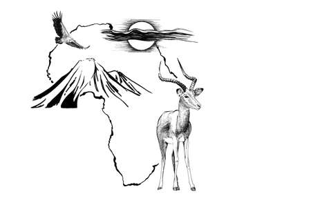 ANIMAL on Africa map background with Kilimanjaro mountain, vulture and sun. Collection of hand drawn illustrations (originals, no tracing) Stok Fotoğraf