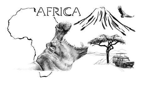 Hippo portrait on Africa map background with Kilimanjaro mountain, vulture and car. Collection of hand drawn illustrations (originals, no tracing) Foto de archivo - 136527043