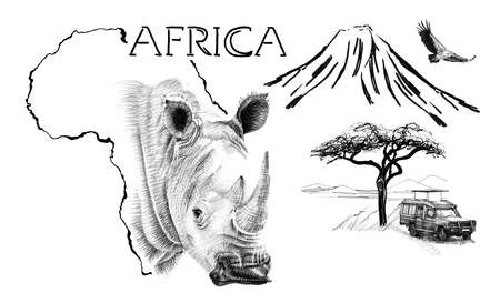 Rhino portrait on Africa map background with Kilimanjaro mountain, vulture and car. Collection of hand drawn illustrations (originals, no tracing) Foto de archivo - 136529289