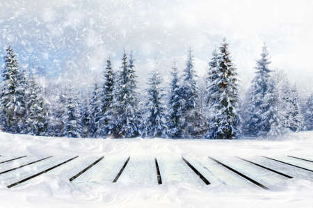 Greeting winter blurred background with wooden table and snowflakes. Merry christmas and New year ideals Foto de archivo - 136527098
