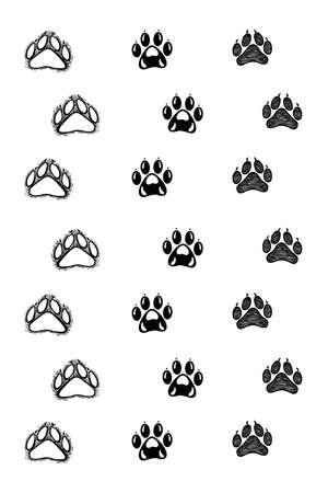 Hand drawn animal footprints, sketch graphics monochrome illustration on white background (originals, no tracing) Foto de archivo - 136527070