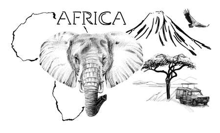 Elephant portrait on Africa map background with Kilimanjaro mountain, vulture and car. Collection of hand drawn illustrations (originals, no tracing) Foto de archivo - 136527101