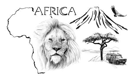 Lion portrait on Africa map background with Kilimanjaro mountain, vulture and car. Collection of hand drawn illustrations (originals, no tracing) Foto de archivo - 136526982
