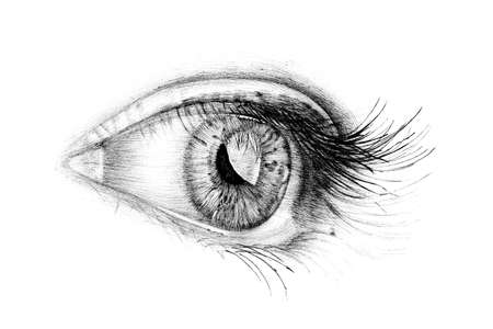 Hand drawn people eye, sketch graphics monochrome illustration on white background (originals, no tracing)