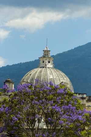 Church dome of San Francisco El Grande, Antigua Guatemala, founded as a city in the year 1543.