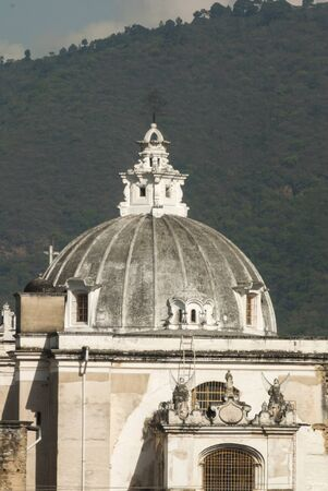 Exterior detail of house in La Antigua Guatemala, colonial style wall and cupola in Guatemala, Central America. Stockfoto
