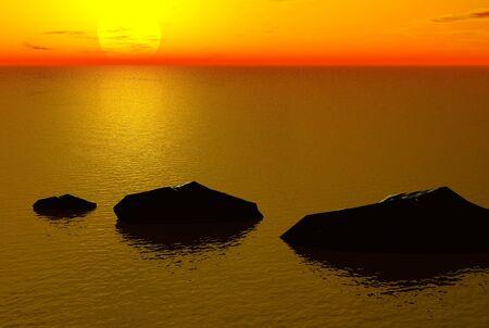 3D render of a sunset Фото со стока