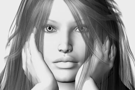 3D de rendre un visage femme  Banque d'images - 1575080