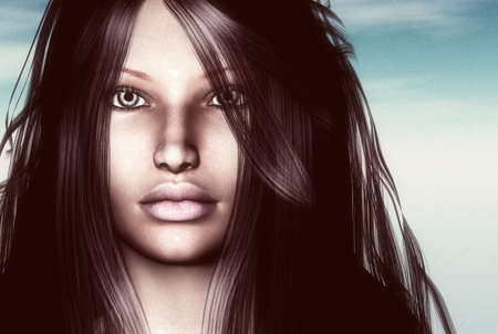 amazing stunning: 3D render of a womans face Stock Photo