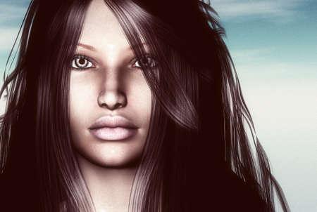 3D render of a womans face Banco de Imagens