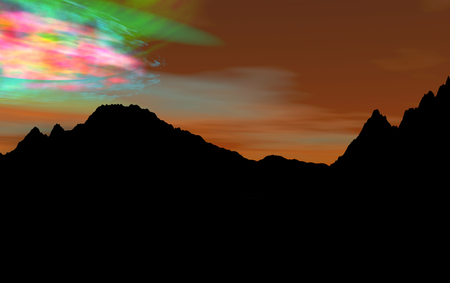 3D-render of Northern Lights and sunset silhouett