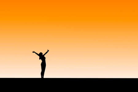 3D render of a silhouetted against the sky, overjoyed, shouting to the heavens photo