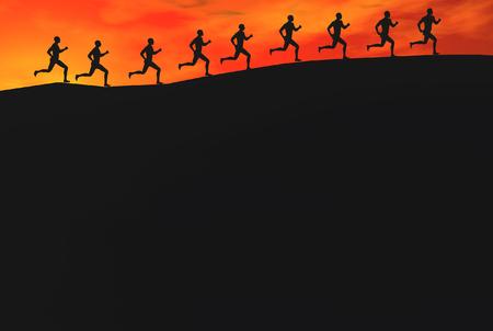 3D render of runners Banco de Imagens