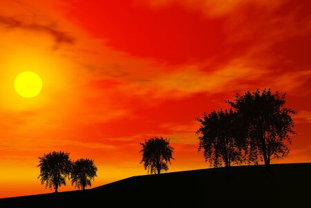 3D render of trees and sunset Фото со стока