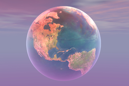 superimpose: 3D render of the earth Stock Photo