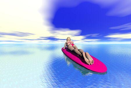 passtime: 3D render of a womans surfer