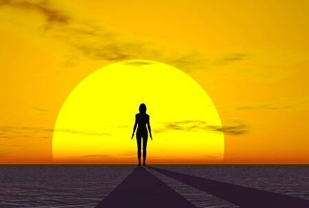 3D render of a sunset and woman