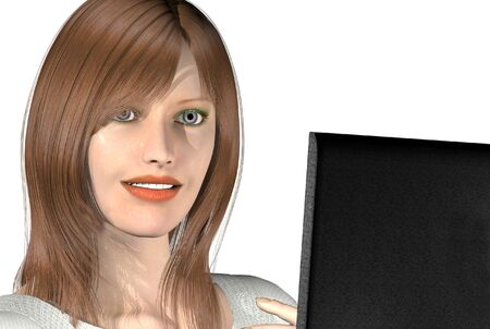 3D render of a womans on a laptop Stock Photo - 1716214