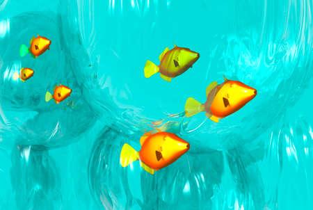 3D render of a School of fish