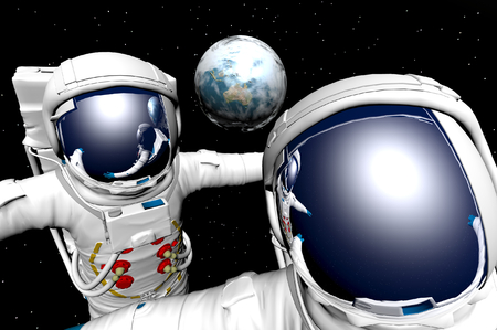 maneuvering: 3D render of astronauts