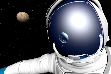 3D render of astronauts photo
