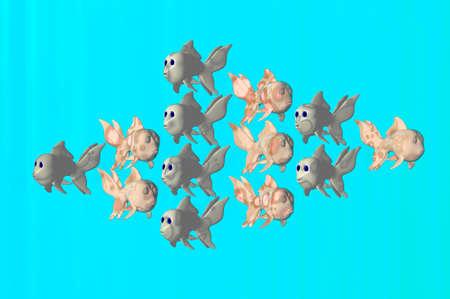 crowd tail: 3D render of goldfish