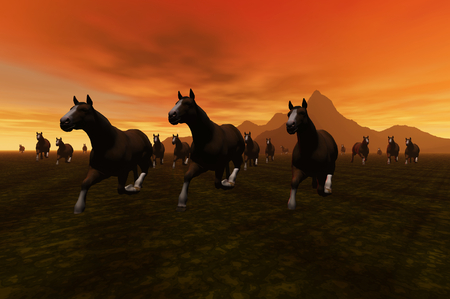 chasing tail: 3D render of horses