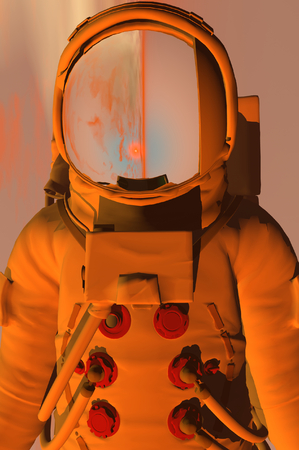 maneuvering: 3D render of astronaut Stock Photo