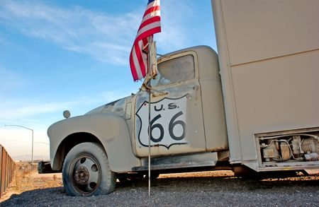 rout: truck and flag on historic rout 66