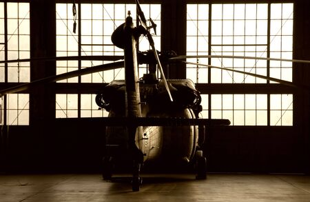 silhouette of military helicopter Banco de Imagens